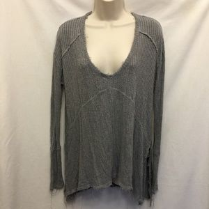 New FREE PEOPLE Gray Oversized Frayed Hem Shirt S